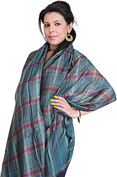 Double-Sided Cashmere Stole with Woven Checks