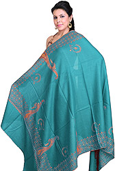 Mavi-Blue Tusha Shawl with Sozni Embroidered Paisleys on Border