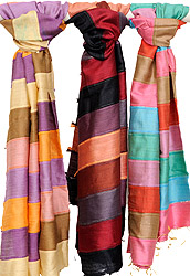 Lot of Three Multi-Color Stoles from Jharkhand
