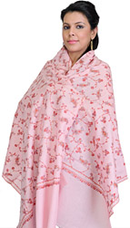 Impations-Pink Tusha Stole with Needle-Embroidered Paisleys