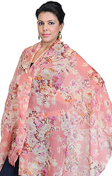 Spiced-Coral Stole with Floral Print