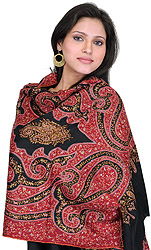 Superfine Black and Tibetan-Red Kashmiri Stole with Sozni Needle Embroidery by Hand