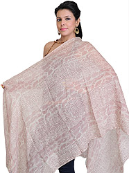 Woodrose-Pink Stole with Printed Snake Skin