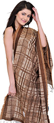 Acorn-Brown Jamawar Stole with All-over Weave