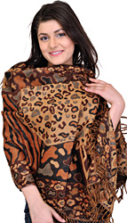 Deep-Mahogany Reversible Jamawar Stole with Woven Leopard Skin