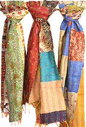 Lot of Three Reversible Printed Kantha Scarves from Kolkata