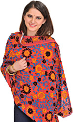 Phulkari Dupatta from Punjab with Crewel Embroidery and Sequins