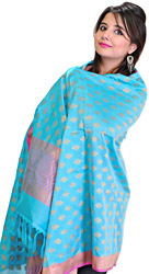 Banarasi Handloom Dupatta with Woven Bootis in Golden Thread