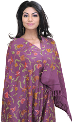 Kashmiri Stole with Ari Embroidered Flowers by Hand