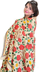 Beige Kantha Shawl from Bengal with All-Over Roses Embroidered by Hand