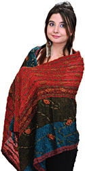 Jester-Red Jamawar Stole with Crewel Embroidery