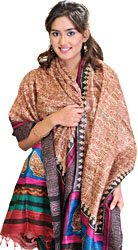 Beige Dupatta from Jharkhand with Printed Folk Warli Motifs