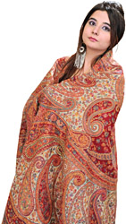 Rio-Red Kani Shawl with Kalamkari Needle Embroidery by Hand