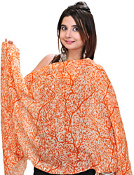 Flamingo-Orange Cashmere Stole from Nepal with Digital Print