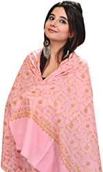 Flamingo-Pink Kashmiri Stole with Sozni Embroidered Flowers By Hand