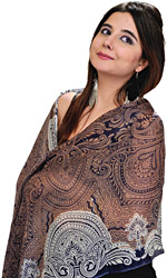 Eclipse-Blue Pure Pashmina Stole from Nepal with Jamawar Print