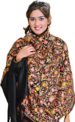 Jet-Black Shawl with Ari Embroidered Flowers