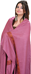 Plain Tusha Shawl from Kashmir with Needle Embroidery on Border