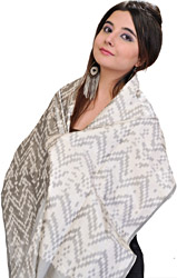 Silver-Gray Handloom Scarf from Pochampally with Ikat Weave