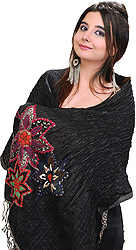 Jet Black Stole with Crewel Embroidered Flowers on Border