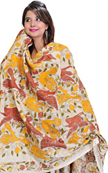 Cloud Cream Kantha Dupatta with Embroidered Birds
