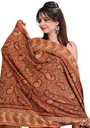 Pecan-Brown Kani Shawl with Woven Paisleys in Multi-Colored Thread