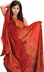 Rio-Red Jamawar Shawl from Amritsar with Woven Flowers
