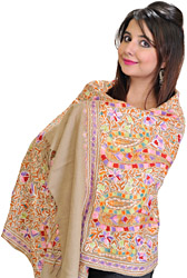 Amritsari Stole with Ari Embroidered Flowers All-Over