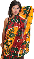 Brisk-Red Tie-Dye Bandhani Dupatta from Gujarat