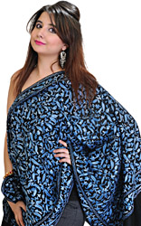 Jet-Black Stole from Amritsar with Ari Embroidered Paisleys All-Over