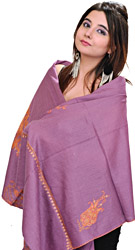 Meadow-Mauve Stole from Kashmir with Sozni Hand-Embroidered Paisleys