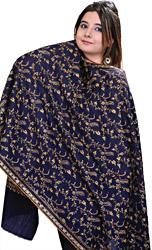 Navy-Blue Kashmiri Tusha Stole with Sozni Hand Embroidery