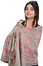 Feather-Gray and Pink Stole from Amritsar with Ari Embroidered Flowers