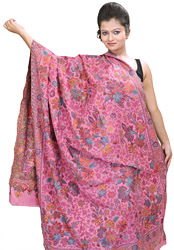 Kani Shawl with Woven Flowers in Multi-Colored Thread
