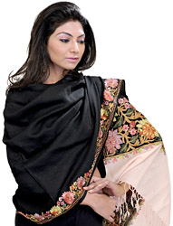 Double-Colored Stole from Amritsar with Ari Embroidered Flowers
