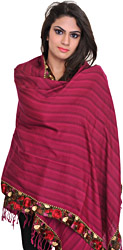 Plain Stole from Amritsar with Embroidered Floral Patch Border