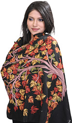 Jet-Black Kashmiri Stole with Hand-Embroidered Tree of Life