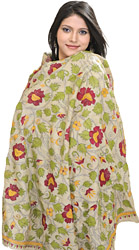 Beige Kantha Dupatta from Kolkata with Hand-Embroidered Flowers and Leaves
