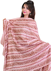 Begonia-Pink Tusha Shawl from Kashmir with Sozni Embroidery by Hand