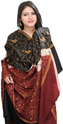 Black and Red Kashmiri Shawl with Sozni Embroidered Flowers