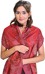 Brick-Red Jamawar Scarf with Woven Flowers
