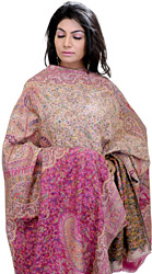 Mauve and Cream Kani Shawl with Woven Paisleys in Multi-Colored Thread