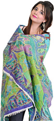 Multi-Color Dupatta with Digital-Printed Geometrical Design