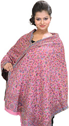 Strawberry-Pink Kani Stole with Woven Paisleys in Multi-Colored Thread