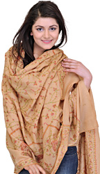 Almond-Buff Shawl from Kashmir with Sozni Hand Embroidered Flowers