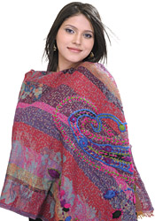 Multi-Color Jamawar Stole with Crewel Embroidered Paisleys
