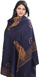 Navy-Blue Kashmiri Shawl with Sozni Embroidered Paisleys