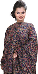 Moonlight-Blue Kani Stole with Woven Flowers in Multi-Colored Thread