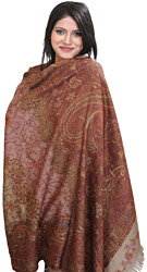 Dove-Gray Jamawar Shawl with Sozni Embroidered Flowers and Woven Paisleys