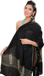 Plain Tusha Stole from Kashmir with Sozni Hand Embroidered Border